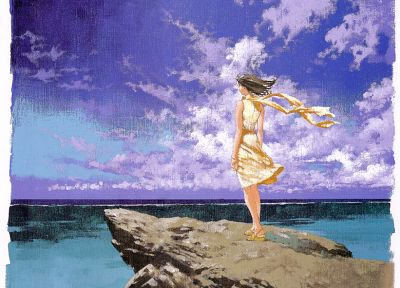 clouds, rocks, rahxephon, artwork, anime girls, windy, sea - desktop wallpaper
