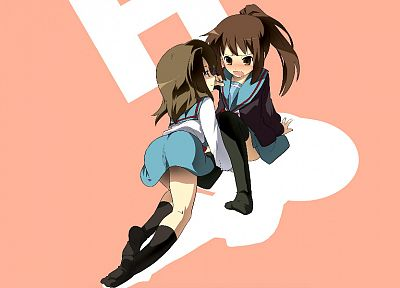 school uniforms, The Melancholy of Haruhi Suzumiya, Kyonko, simple background, sailor uniforms - random desktop wallpaper