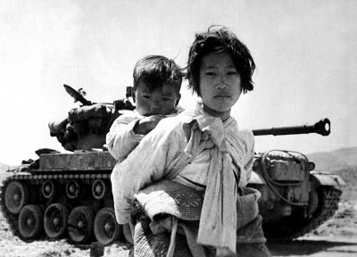 war, tanks, monochrome, korean war, children - random desktop wallpaper