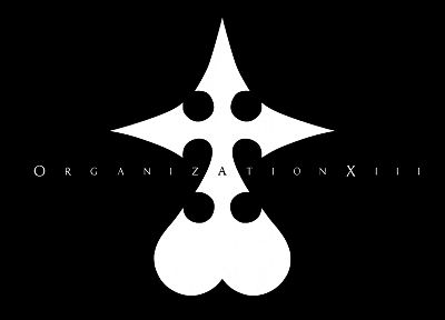 black and white, video games, Kingdom Hearts, minimalistic, Organization XIII - random desktop wallpaper