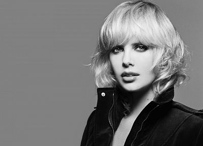 blondes, women, Charlize Theron, grayscale, monochrome - related desktop wallpaper