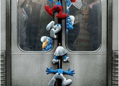 subway, schtroumpfs, The Smurfs, movie posters, Papa Smurf, Smurfette, doors - random desktop wallpaper