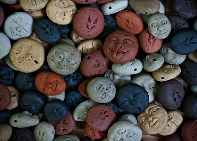 rocks, smiley, artwork, faces - random desktop wallpaper