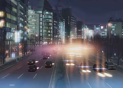 cityscapes, architecture, buildings, downtown, Makoto Shinkai, 5 Centimeters Per Second, artwork, anime - desktop wallpaper