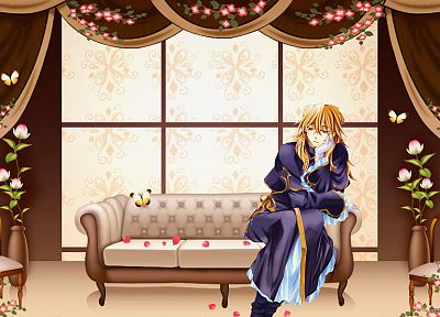blondes, couch, indoors, Pandora Hearts, anime, Vincent Nightray - desktop wallpaper