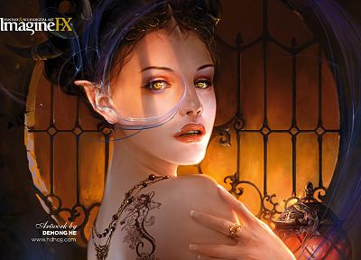 tattoos, women, horns, Gothic, fantasy art, yellow eyes, artwork, long ears, imagine fx - random desktop wallpaper