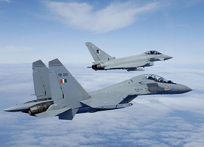 aircraft, military, Eurofighter Typhoon, planes, vehicles, Sukhoi, Indian Air Force, Su-30MKI - related desktop wallpaper
