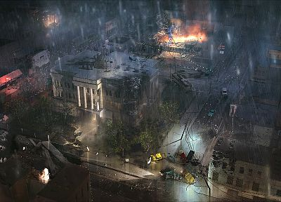 ruins, streets, night, rain, cars, fire, apocalypse, vehicles, cities - related desktop wallpaper