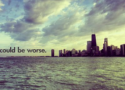 clouds, horizon, cityscapes, buildings, typography - desktop wallpaper