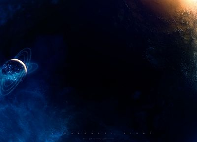 light, outer space, stars, planets, rings, darkness, Greg Martin - desktop wallpaper