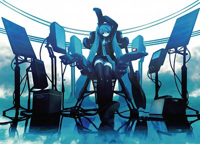 headphones, blue, Vocaloid, stockings, Hatsune Miku, blue eyes, tie, skirts, long hair, technology, blue hair, thigh highs, twintails, chairs, sitting, reflections, Huke, anime girls, hair ornaments, arms raised, bangs, black stockings - related desktop wallpaper
