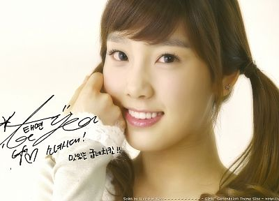women, Girls Generation SNSD, celebrity, Asians, Kim Taeyeon, signatures, bangs - random desktop wallpaper