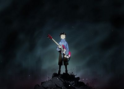 FLCL Fooly Cooly, bass guitars, bass, short hair, anime, anime boys, Nandaba Naota, black hair, skies, night time - random desktop wallpaper