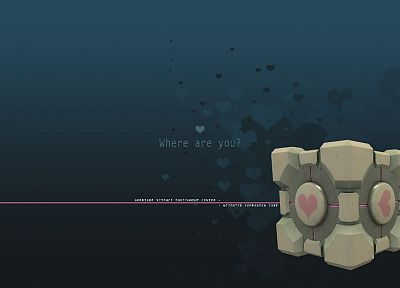 video games, Valve Corporation, Portal, Companion Cube - random desktop wallpaper