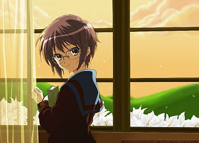 glasses, Nagato Yuki, The Melancholy of Haruhi Suzumiya, meganekko - random desktop wallpaper