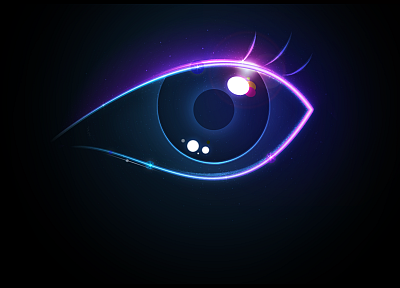 abstract, eyes, neon lamp - random desktop wallpaper