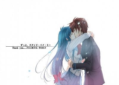 Full Metal Panic!, blue hair, Chidori Kaname, white background, Sagara Sousuke - desktop wallpaper