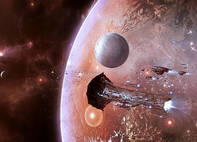 planets, Moon, EVE Online, Leviathan, spaceships, vehicles - random desktop wallpaper