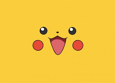 Pokemon, video games, yellow, Pikachu, faces, simple - desktop wallpaper
