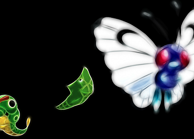 Pokemon, Metapod, Caterpie, Butterfree, black background - desktop wallpaper
