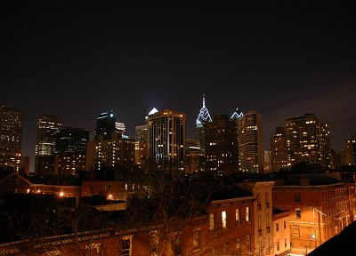 night, Philadelphia, city skyline, cities - desktop wallpaper