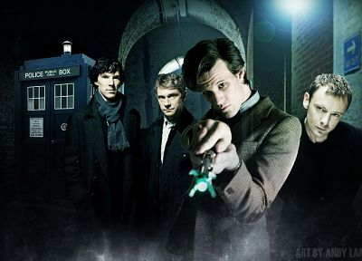 TARDIS, Matt Smith, BBC, Sherlock Holmes, Eleventh Doctor, The Master, Doctor Who, John Simm, crossovers, Benedict Cumberbatch, Martin Freeman, Sherlock BBC - random desktop wallpaper