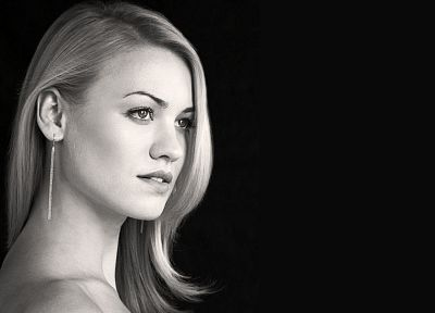 women, actress, Yvonne Strahovski, grayscale, monochrome, faces - related desktop wallpaper