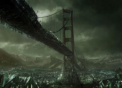 Command And Conquer, gdi, bridges, apocalypse, Golden Gate Bridge, Industrial, Tiberium, post apocalyptic - random desktop wallpaper