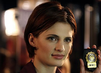 women, police, smiling, badges, Stana Katic, Castle TV Series, Kate Beckett - random desktop wallpaper