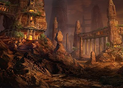 architecture, rocks, stairways, fantasy art, pillars, fictional landscapes, rock formations, Philip Straub - random desktop wallpaper
