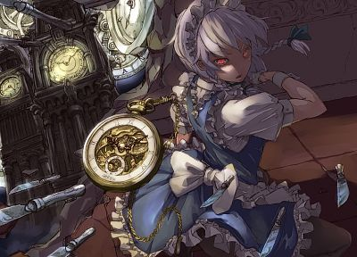 Touhou, dress, maids, clocks, Izayoi Sakuya, red eyes, knives, white hair, games - desktop wallpaper