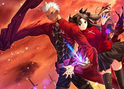 Fate/Stay Night, Tohsaka Rin, Archer (Fate/Stay Night), Fate series - random desktop wallpaper