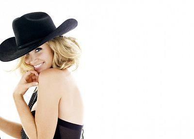 Delta Goodrem, singers, Australian, simple background, cowboy hats, white background - random desktop wallpaper