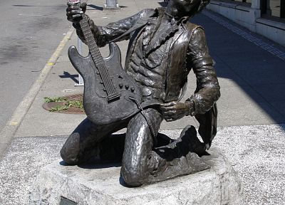 Jimi Hendrix, guitars, statues - random desktop wallpaper