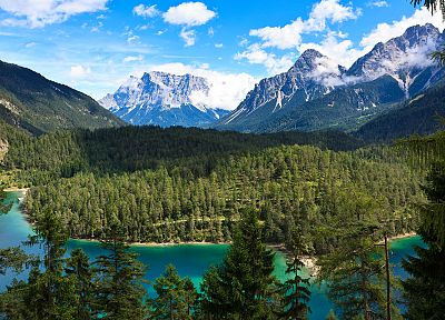 mountains, landscapes, trees, rivers - related desktop wallpaper