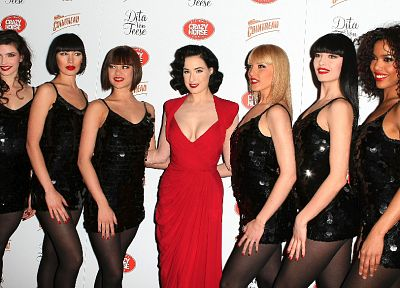 women, Dita Von Teese, red dress - duplicate desktop wallpaper