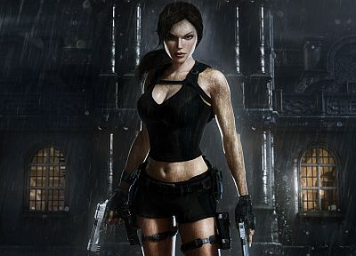 video games, rain, Tomb Raider, Lara Croft, 3D - related desktop wallpaper