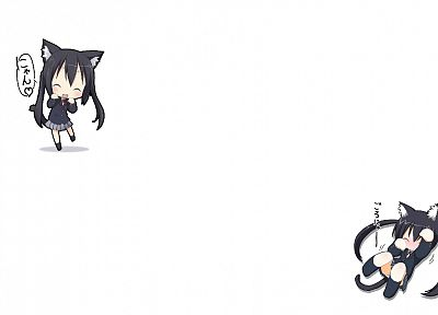 K-ON!, animal ears, Nakano Azusa, simple background - random desktop wallpaper