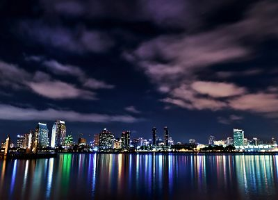 water, clouds, cityscapes, night, lights, skyscapes - related desktop wallpaper