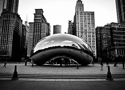 cityscapes, Chicago, buildings, monochrome, greyscale - related desktop wallpaper