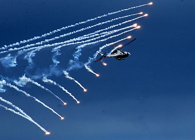 aircraft, military, helicopters, vehicles, flares, contrails - desktop wallpaper