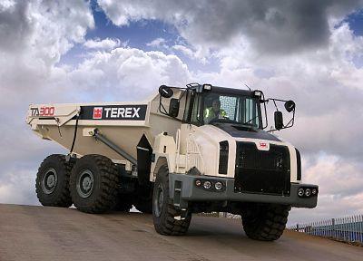 clouds, trucks, vehicles, terex - random desktop wallpaper