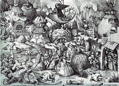 trees, monsters, birds, animals, surrealism, buildings, sketches, surreal, seven deadly sins, pride, monochrome, artwork, drawings, arrows, cross hatch, Pieter Bruegel, Pencil Art - related desktop wallpaper