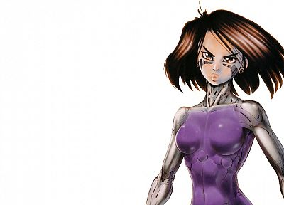 Gally, Gunnm, Battle Angel Alita, bodysuits, white background - desktop wallpaper
