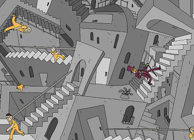 stairways, MC Escher, Superjail, The Warden - random desktop wallpaper