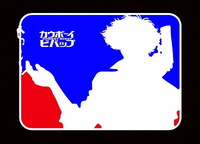 blue, red, Cowboy Bebop, Spike Spiegel, baseball, logos - random desktop wallpaper
