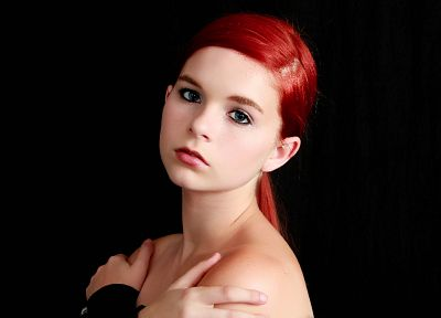 women, blue eyes, redheads, simple background, black background, Karoline Kate, teens - desktop wallpaper