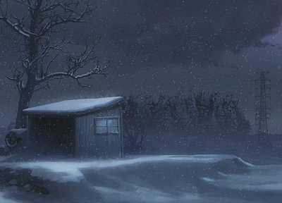snow, Makoto Shinkai, 5 Centimeters Per Second, artwork, anime - related desktop wallpaper