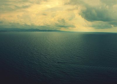 water, clouds, horizon, calm, sea - desktop wallpaper