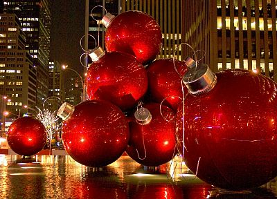 Christmas, New York City, ornaments - desktop wallpaper